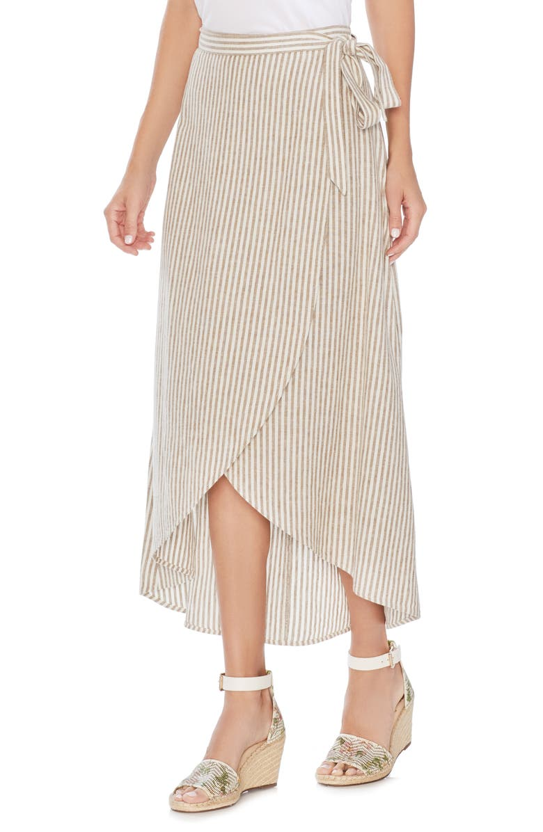VINCE CAMUTO Natural Linen Stripe Wrap Midi Skirt, Main, color, 137