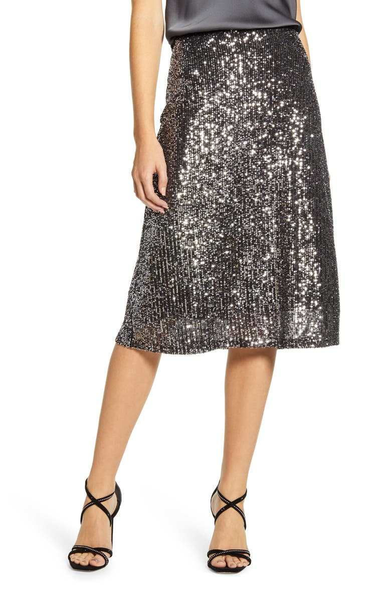 CHELSEA28 Sequin Skirt, Main, color, BLACK- SILVER SEQUIN
