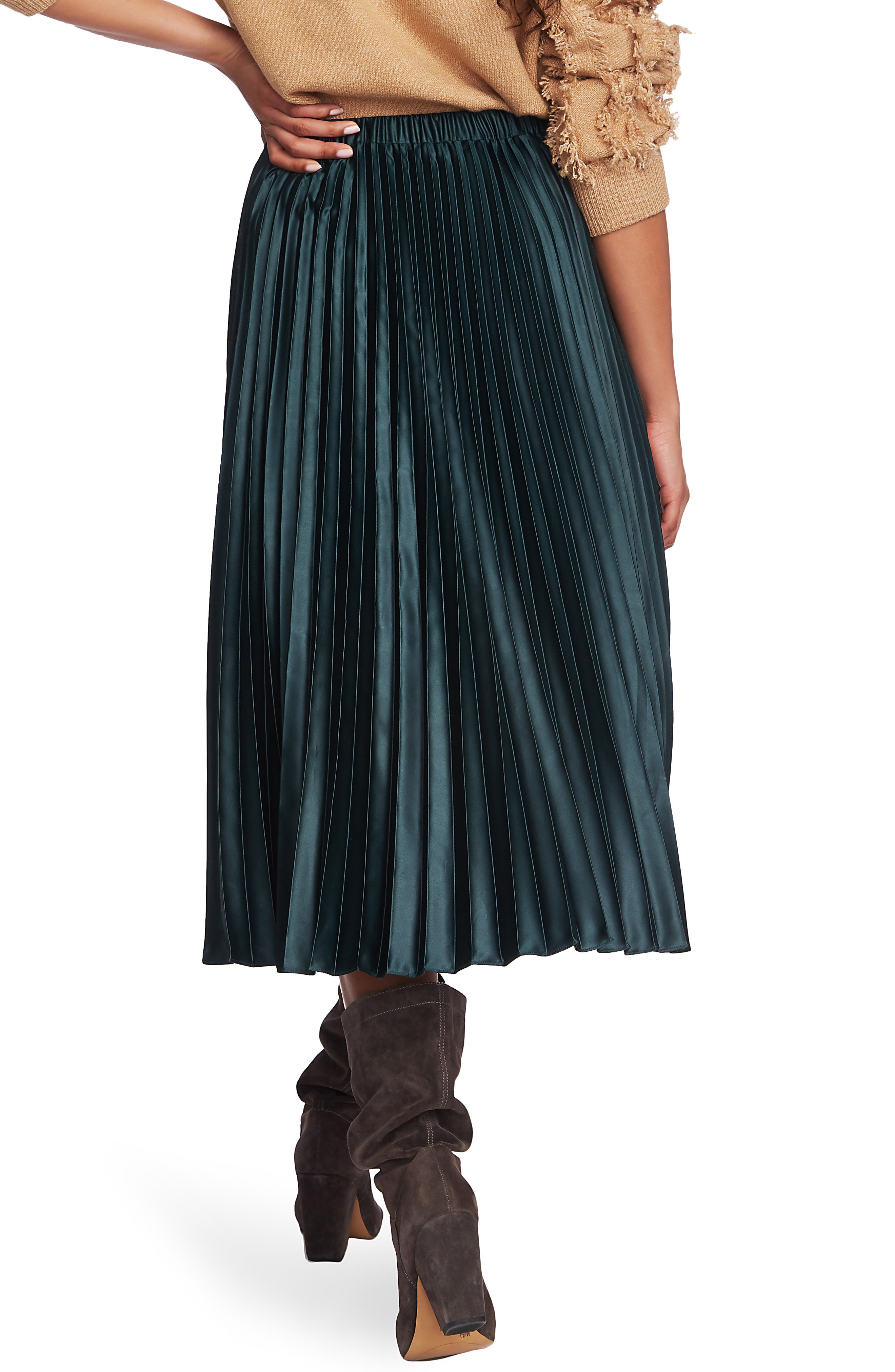 1.state Skirts Matte Satin Pleated Midi Skirt