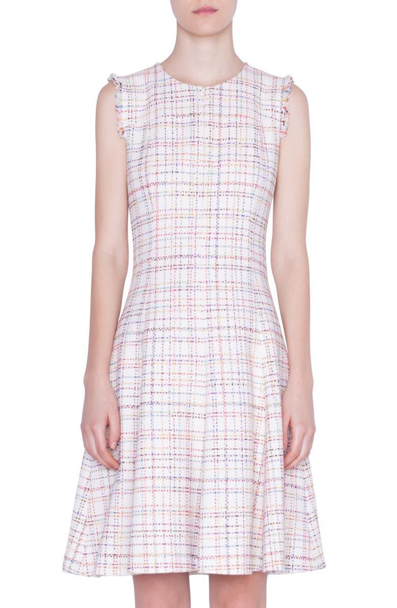 AKRIS PUNTO Sleeveless Tweed Dress, Main, color, CREAM MULTICOLOR LUREX