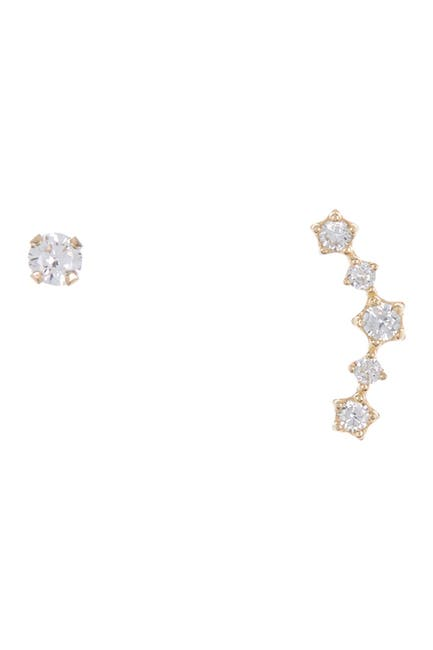Image of Candela 10K Gold CZ Crawler Earrings Set