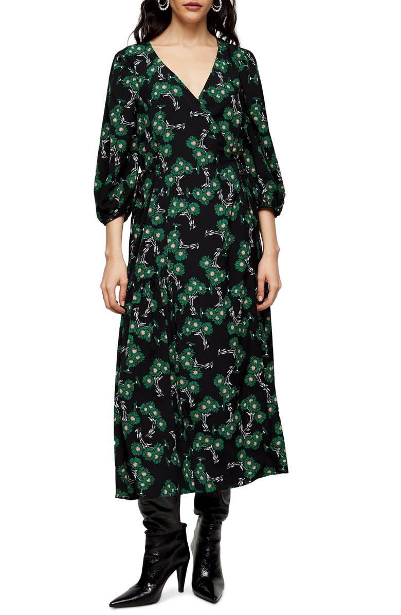 TOPSHOP Daisy Wrap Midi Dress, Main, color, GREEN MULTI
