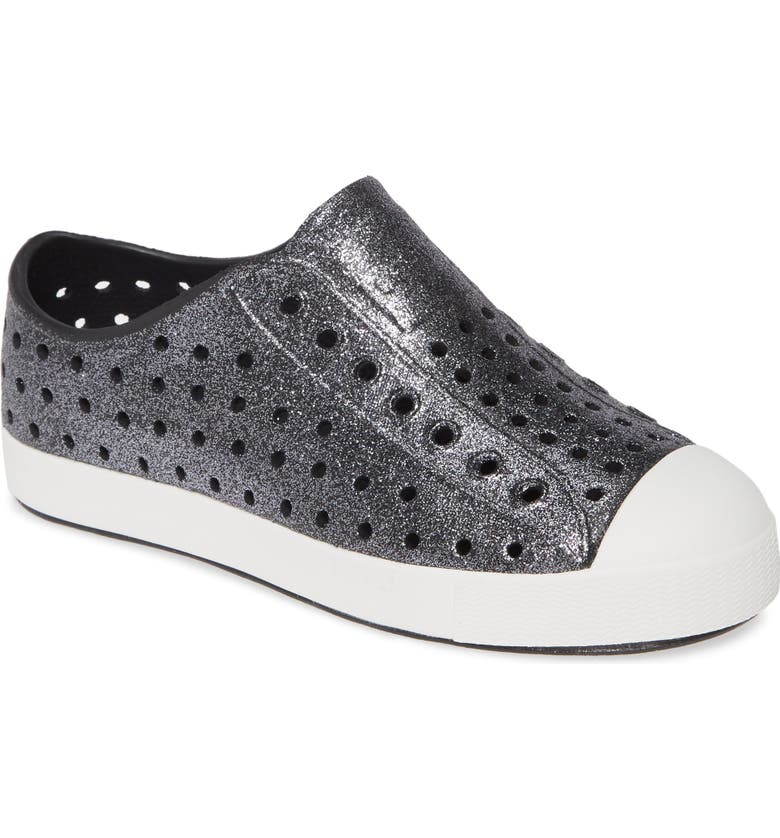 NATIVE SHOES Jefferson Bling Glitter Slip-On Vegan Sneaker, Main, color, JIFFY BLING/ SHELL WHITE