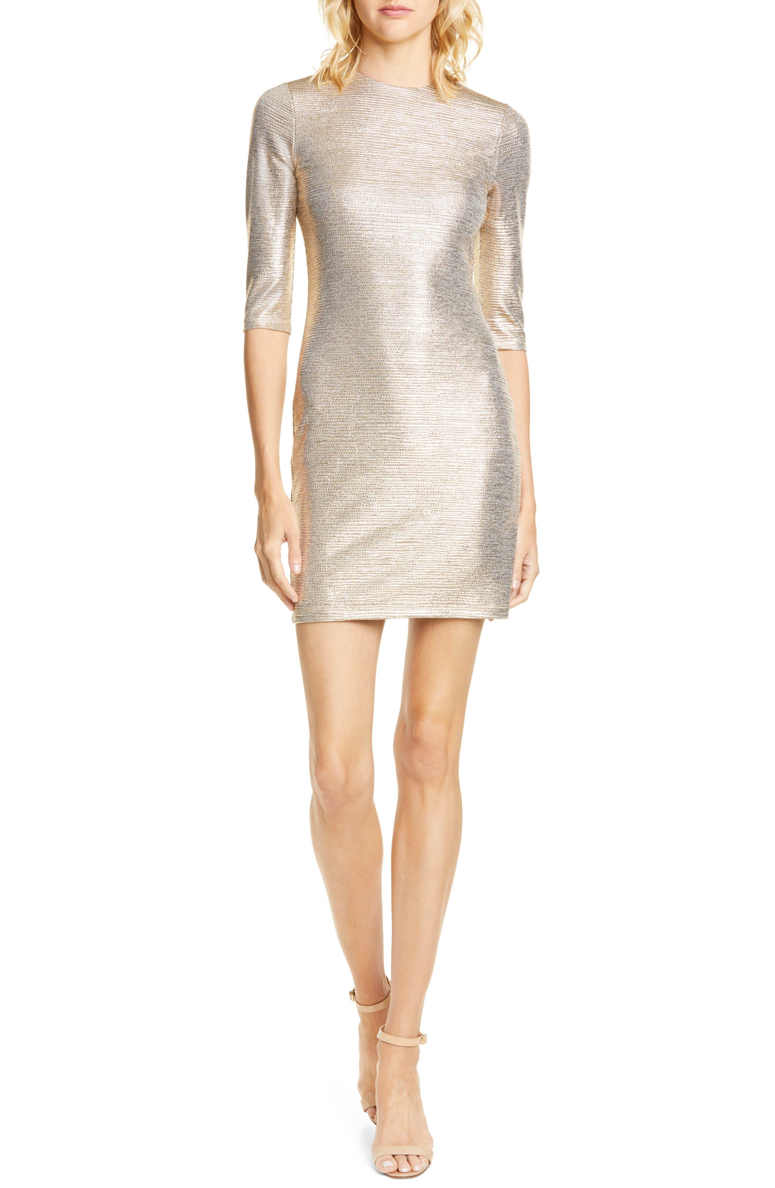 Alice + Olivia Delora Body-Con Dress, Metallic