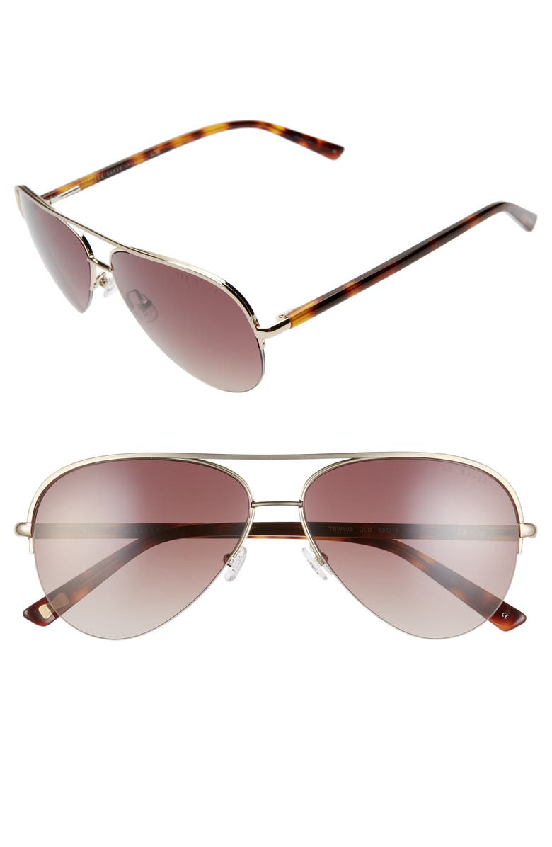 Ted Baker London 59mm Gradient Aviator Sunglasses