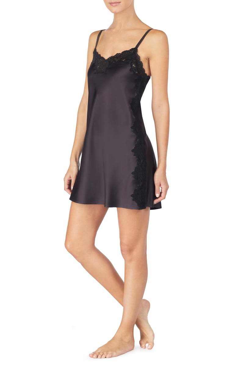 LAUREN RALPH LAUREN Lace Trim Satin Chemise, Main, color, 001