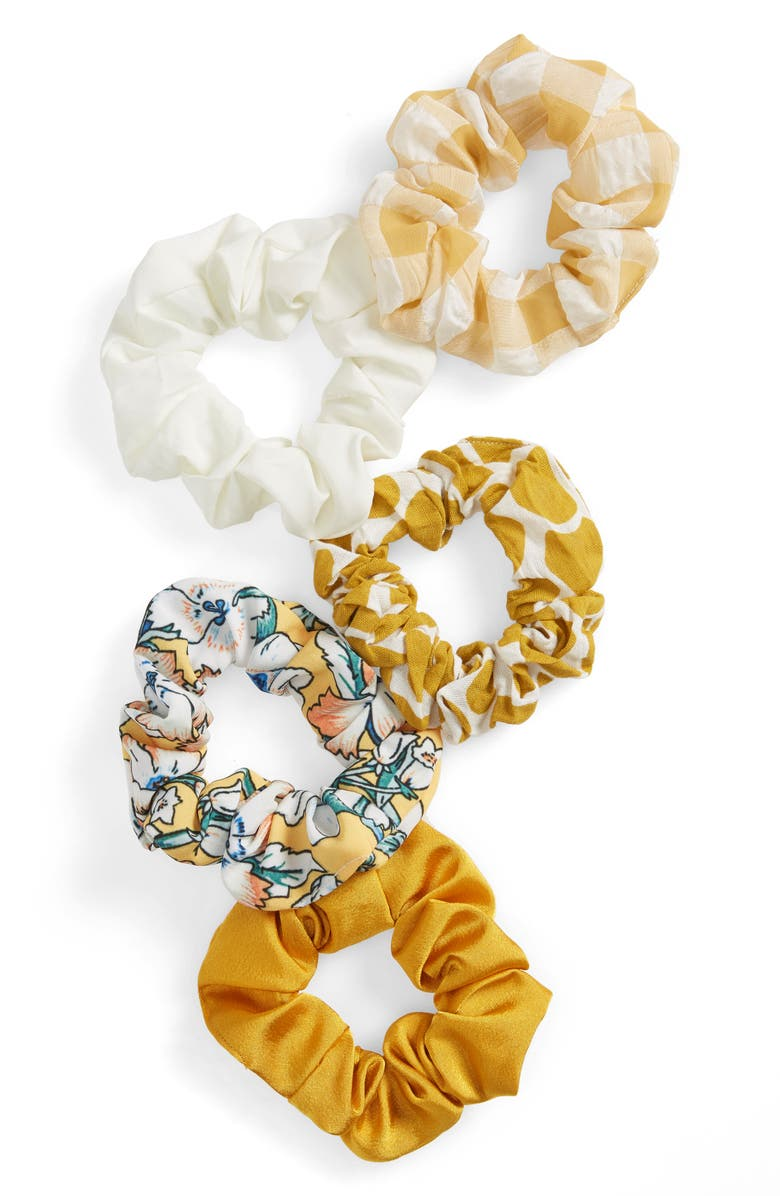 BP. 5-Pack Assorted Scrunchies, Main, color, YELLOW