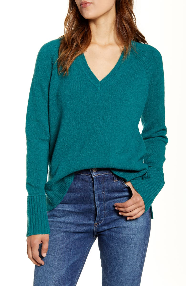 J.CREW Supersoft Yarn V-Neck Sweater, Main, color, 317