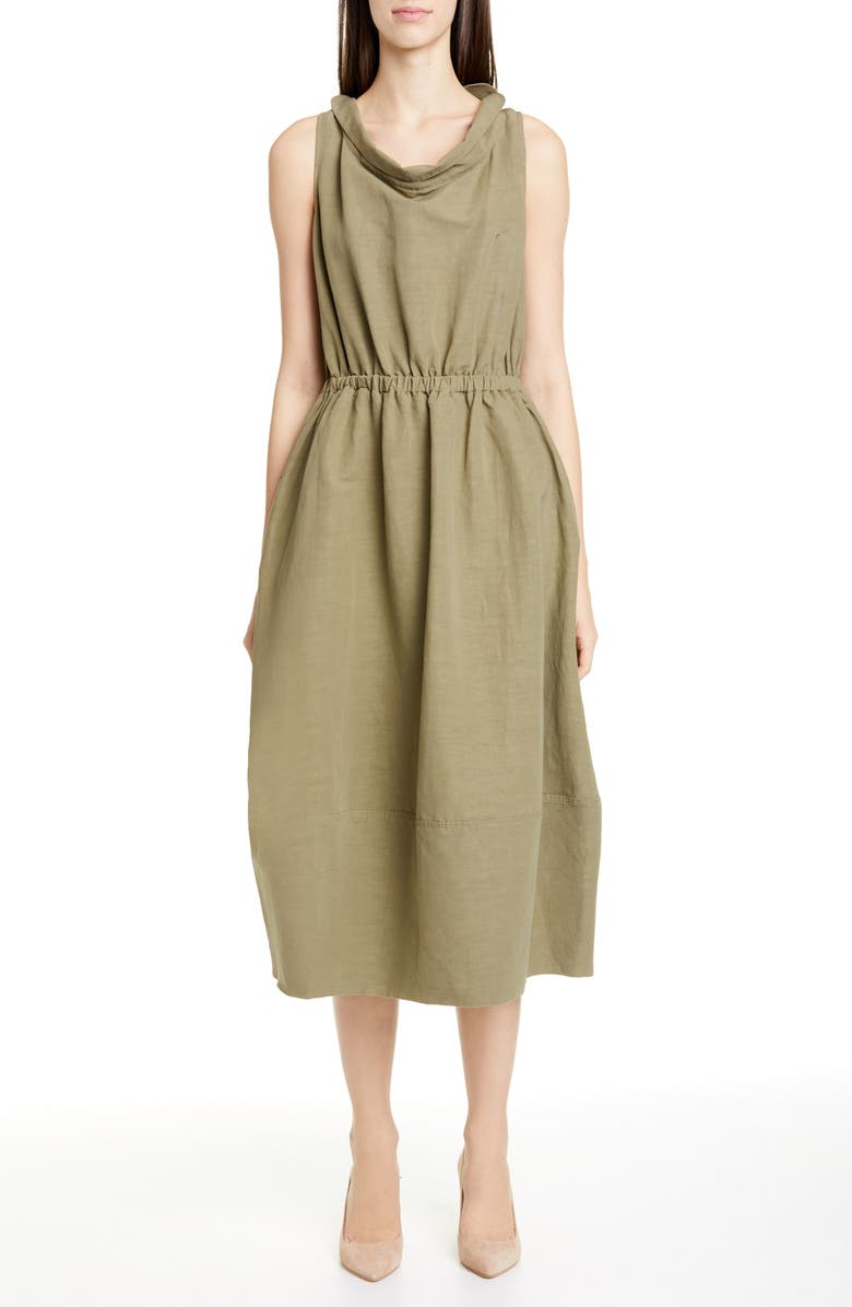 CO Cinched Cowl Neck Cotton & Linen Blend Midi Dress, Main, color, OLIVE