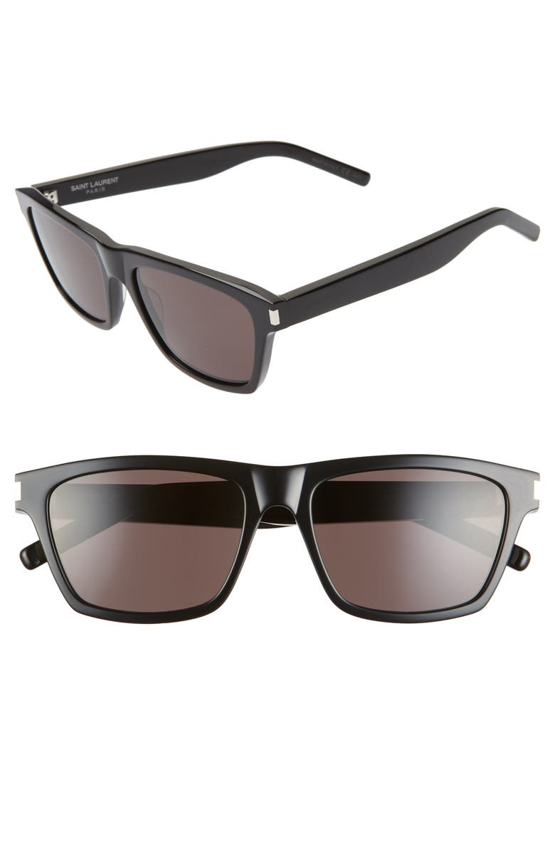 SAINT LAURENT 56mm Flat-Top Sunglasses, Main, color, BLACK