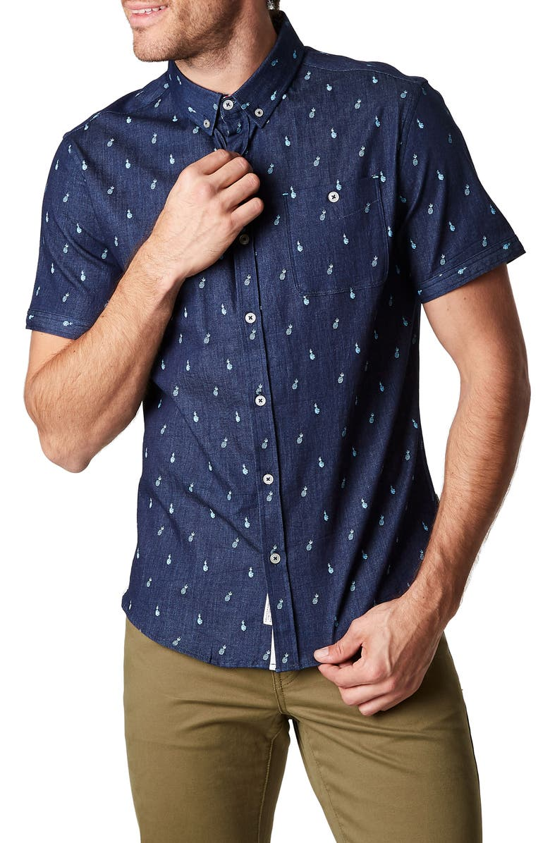 7 DIAMONDS Grain of Sand Slim Fit Shirt, Main, color, NAVY
