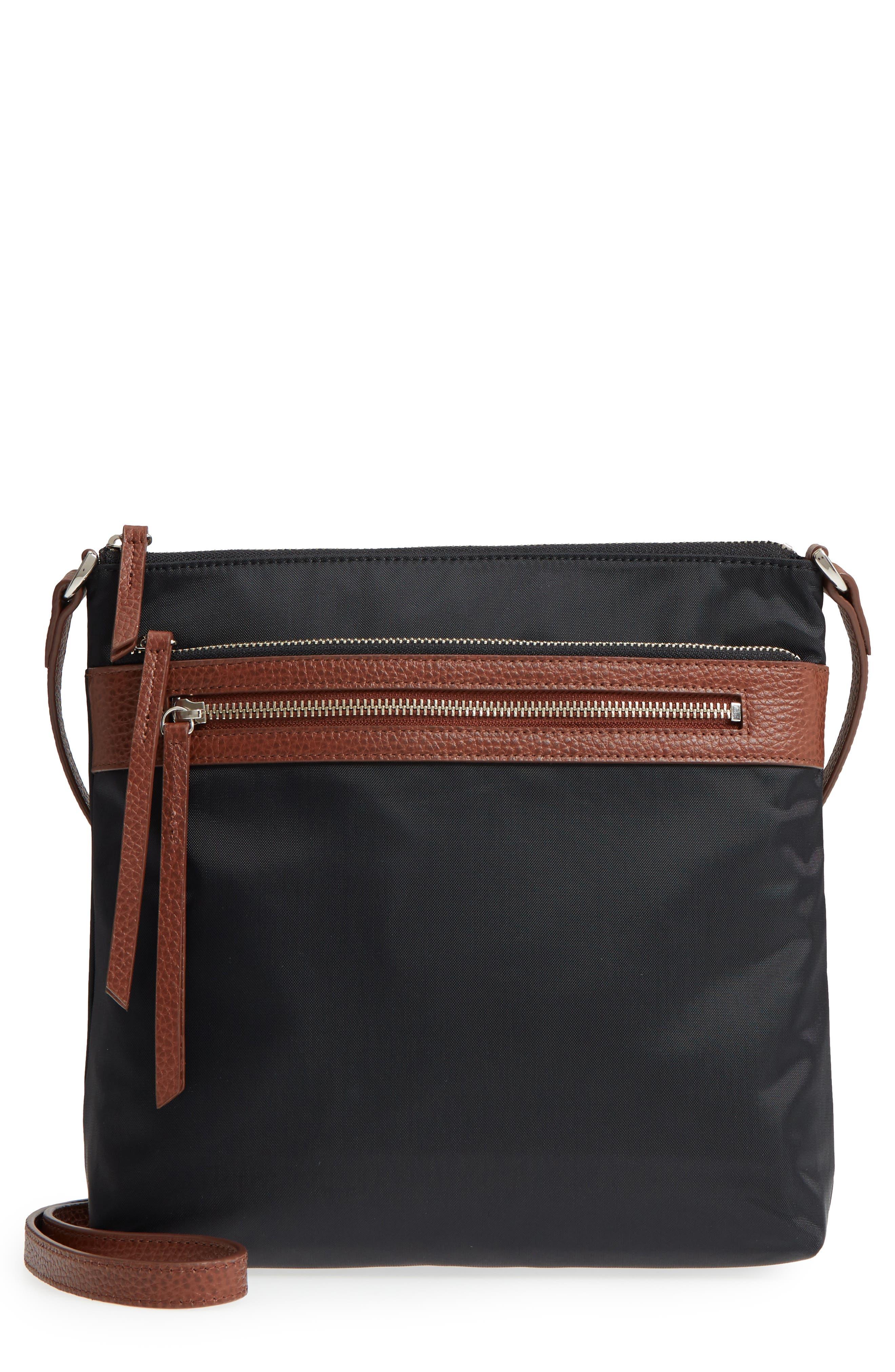 ,                             Kaison Nylon Crossbody Bag,                             Main thumbnail 1, color,                             BLACK/BROWN