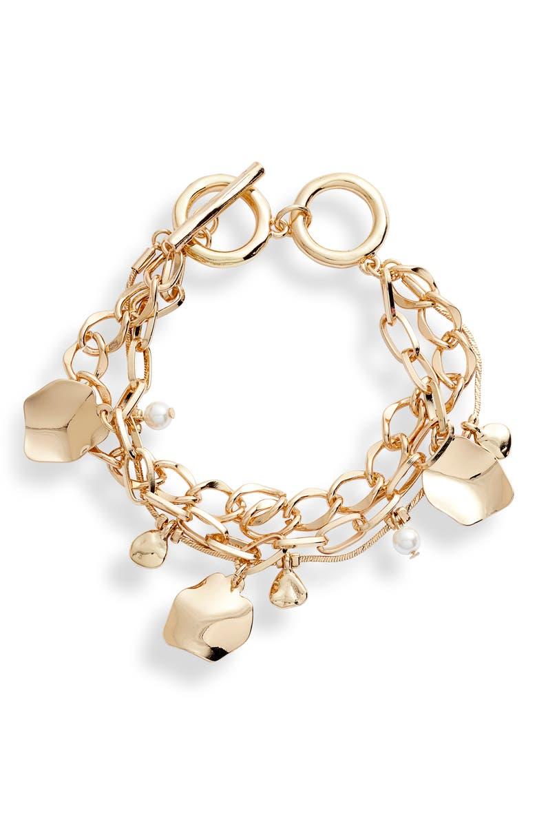 HALOGEN<SUP>®</SUP> Double Chain Charm Bracelet, Main, color, 100