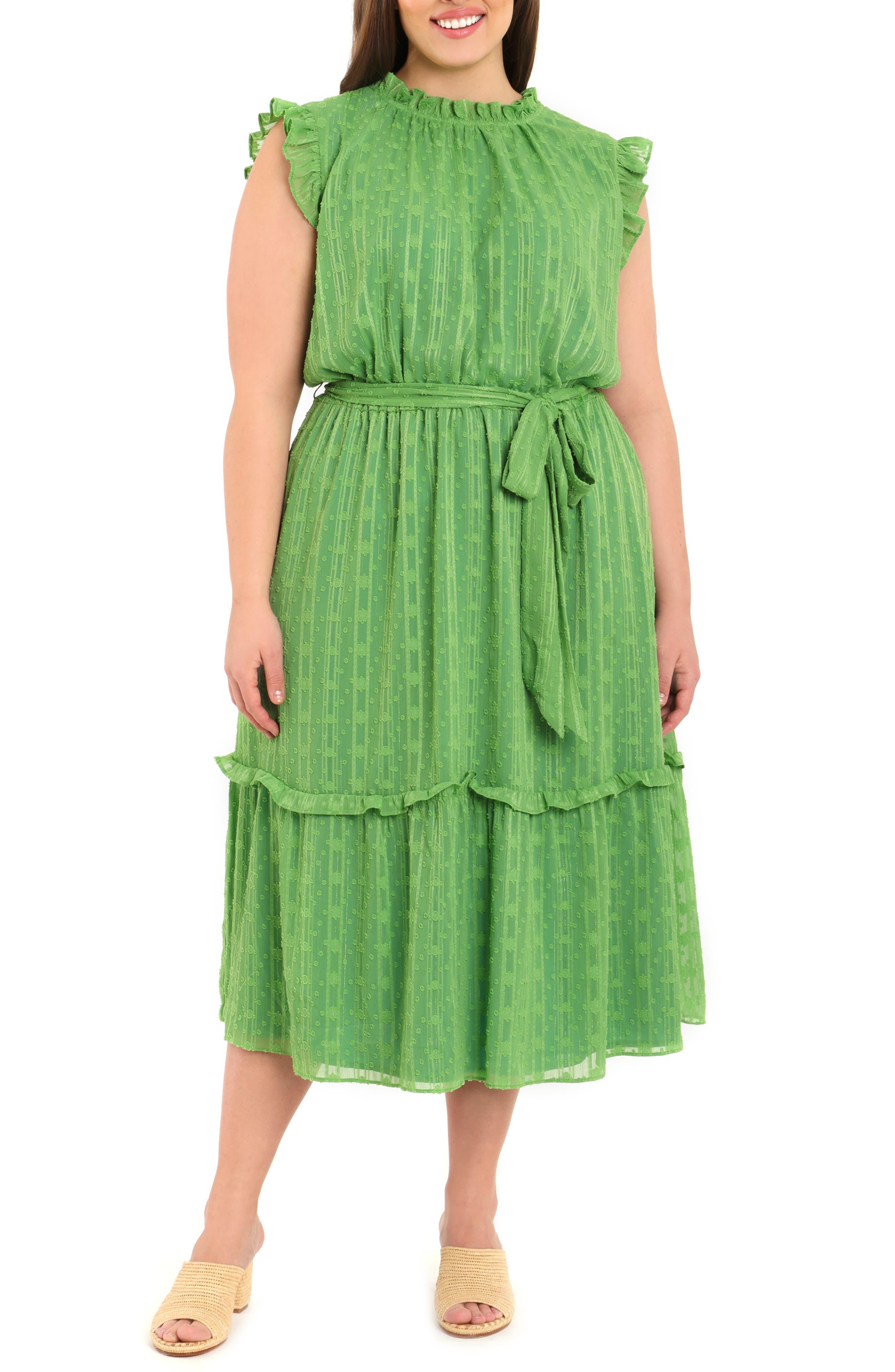 Clip Dot Metallic Stripe Ruffle Midi Dress
