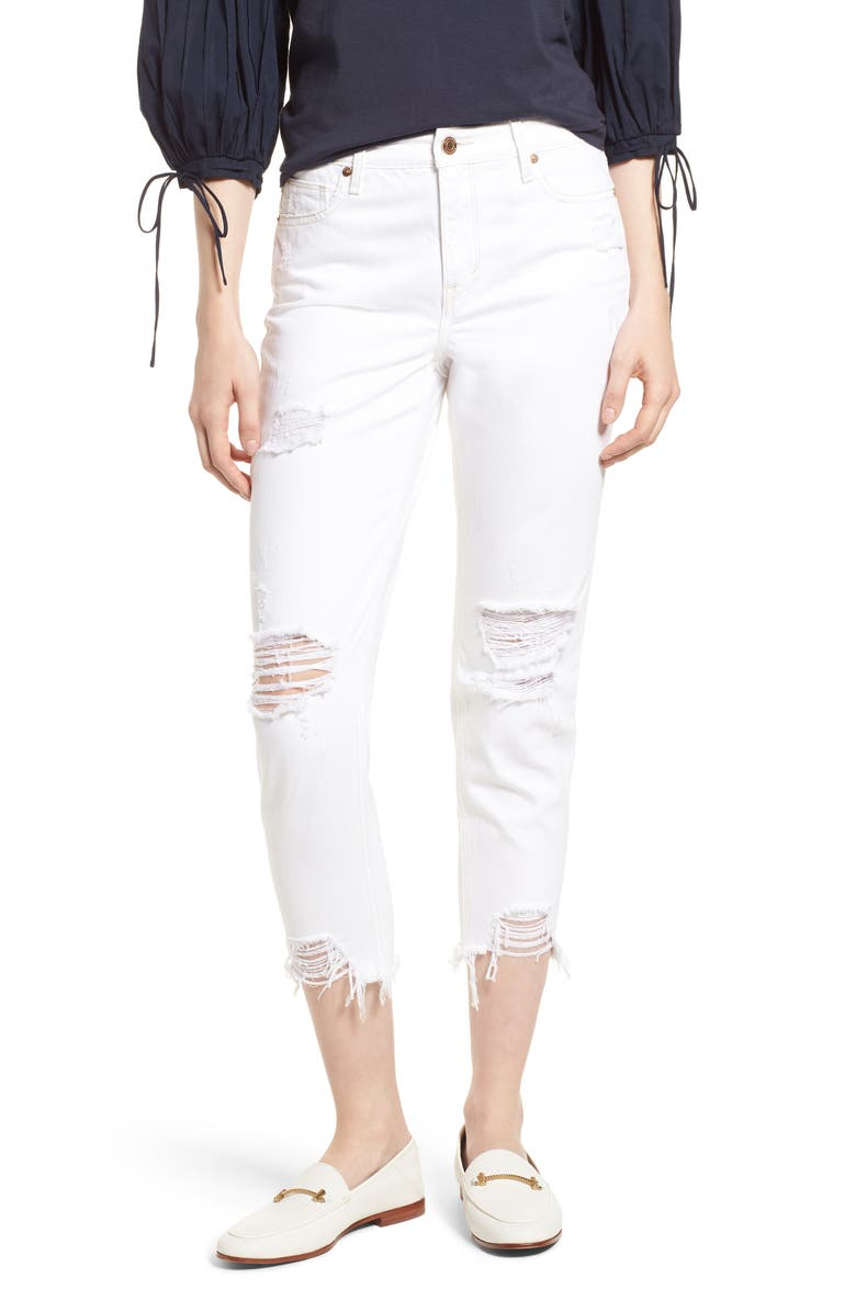 HABITUAL Vale Distressed Slant Fray Cuff Jeans, Main, color, CHALK