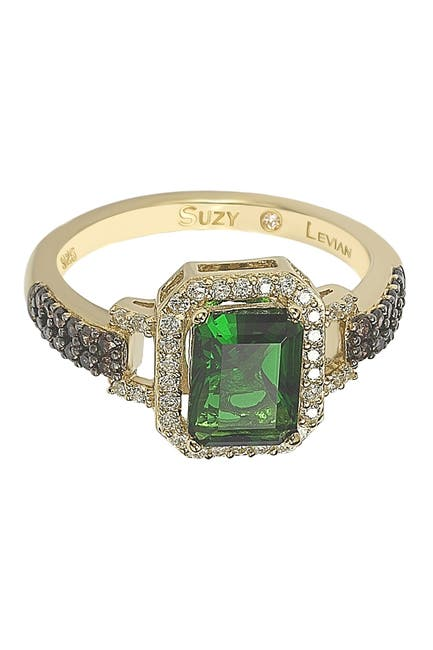Image of Suzy Levian Yellow-Tone Sterling Silver Prong Set Emerald Cut & Pave CZ Ring