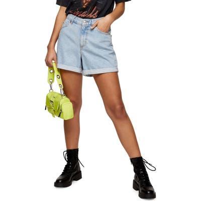Topshop Roll Hem Mom Denim Shorts, US (fits like 0) - Blue