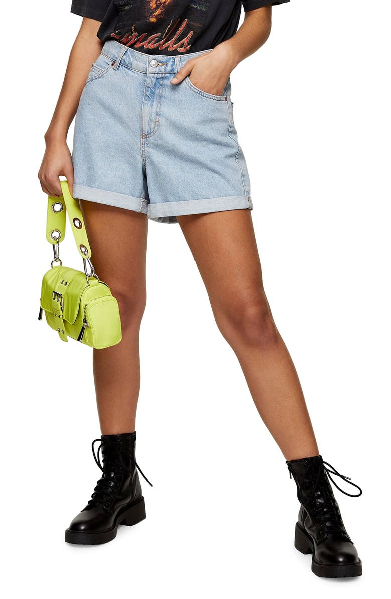 TOPSHOP Roll Hem Mom Denim Shorts, Main, color, BLUE