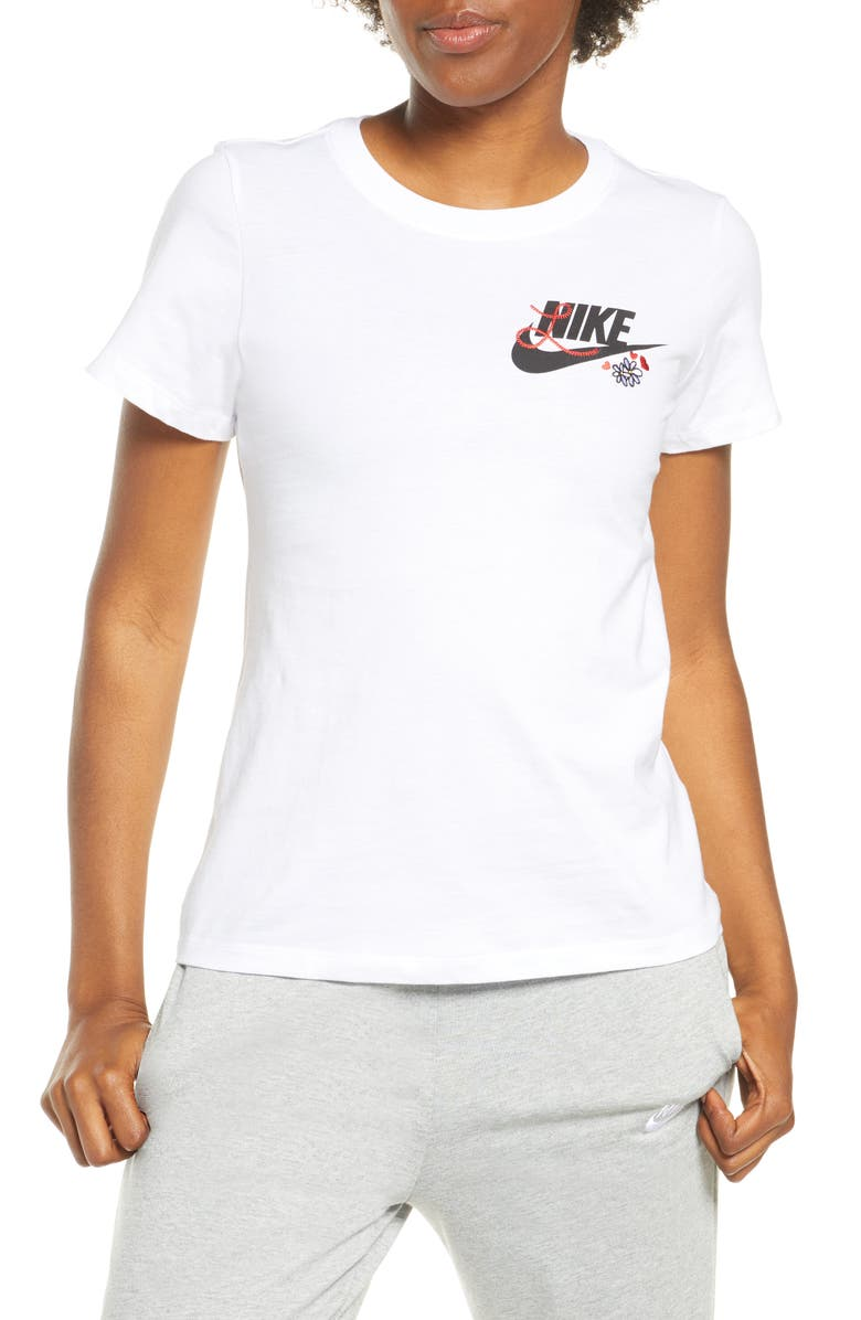 NIKE Embroidered Logo T-Shirt, Main, color, WHITE/ BLACK