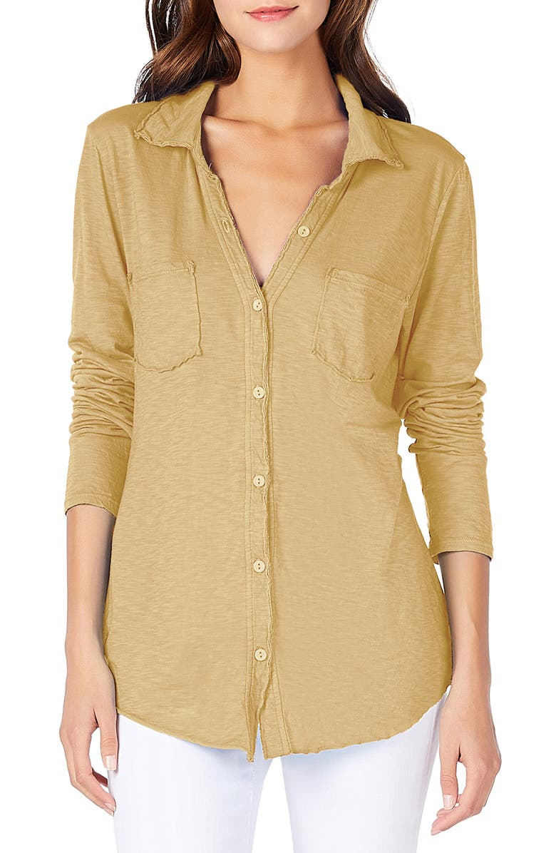 MICHAEL STARS Knit Shirt, Main, color, OCHRE