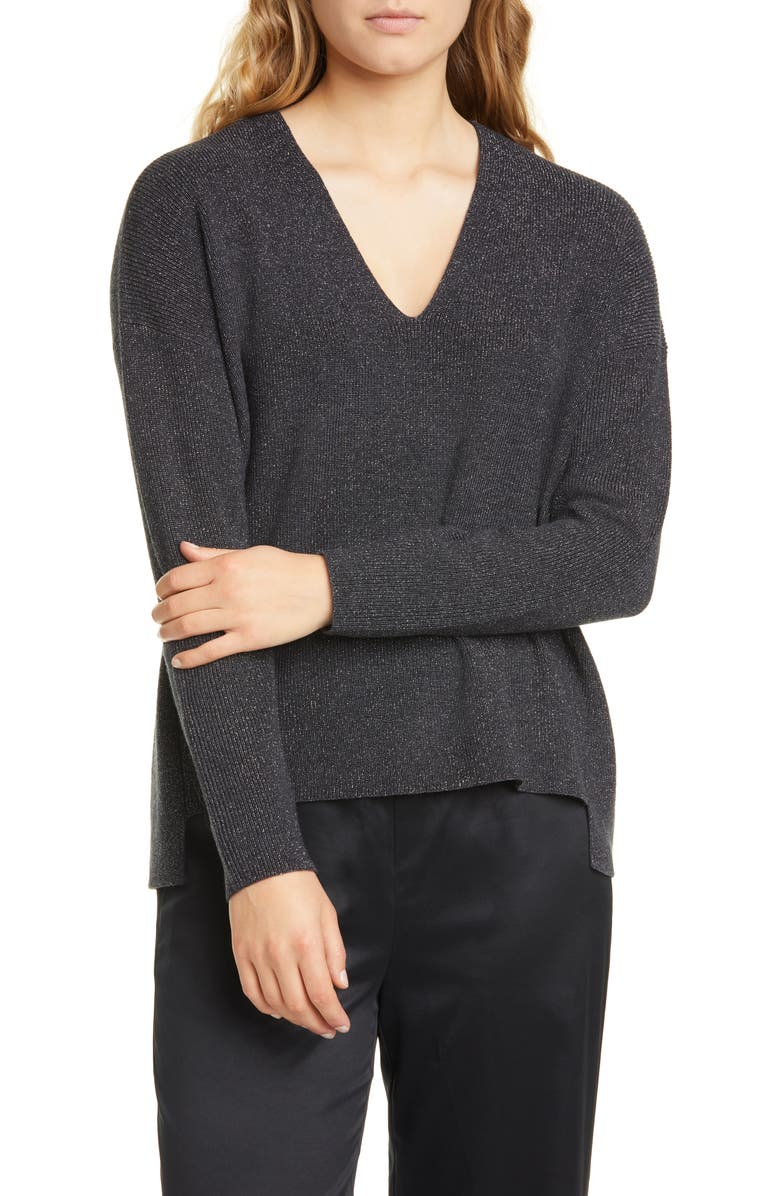 EILEEN FISHER Boxy Shimmer Wool Blend Top, Main, color, CHARCOAL