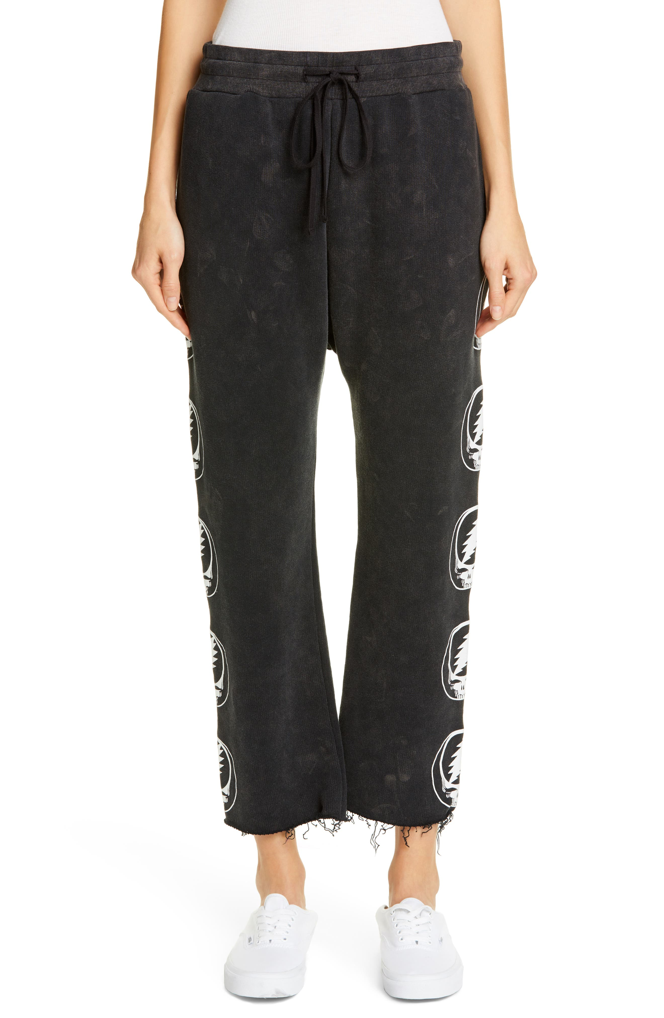 Steal Your Face Graphic Crop Sweatpants, Main, color, ACID BLACK