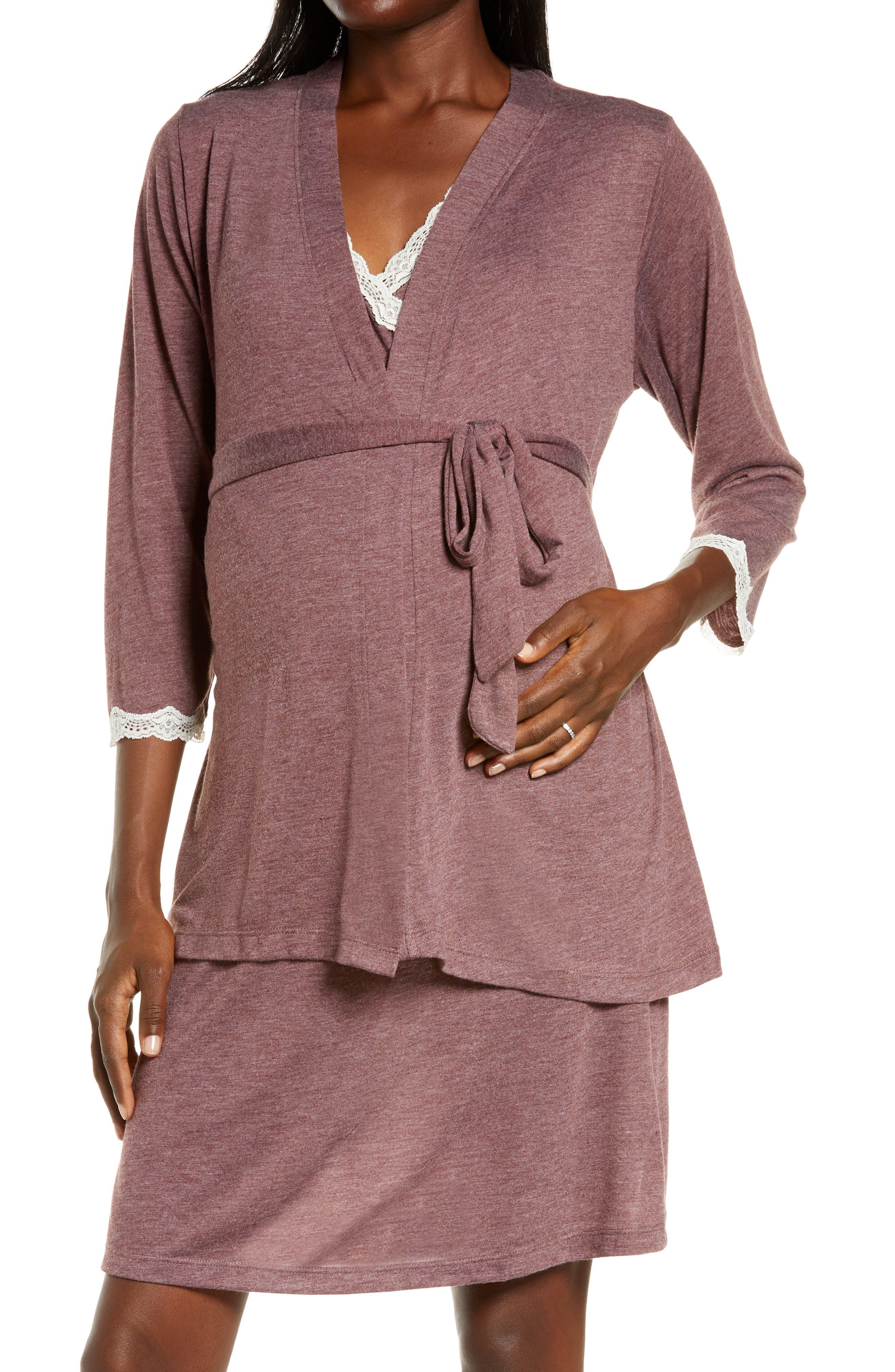 Maternity/nursing Robe & Chemise Set