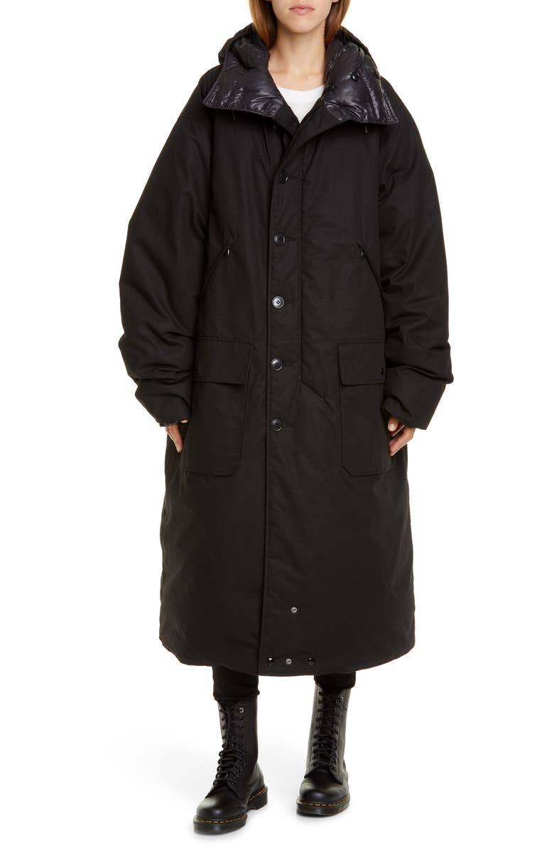 R13 Long Hooded Down Puffer Coat, Main, color, 001