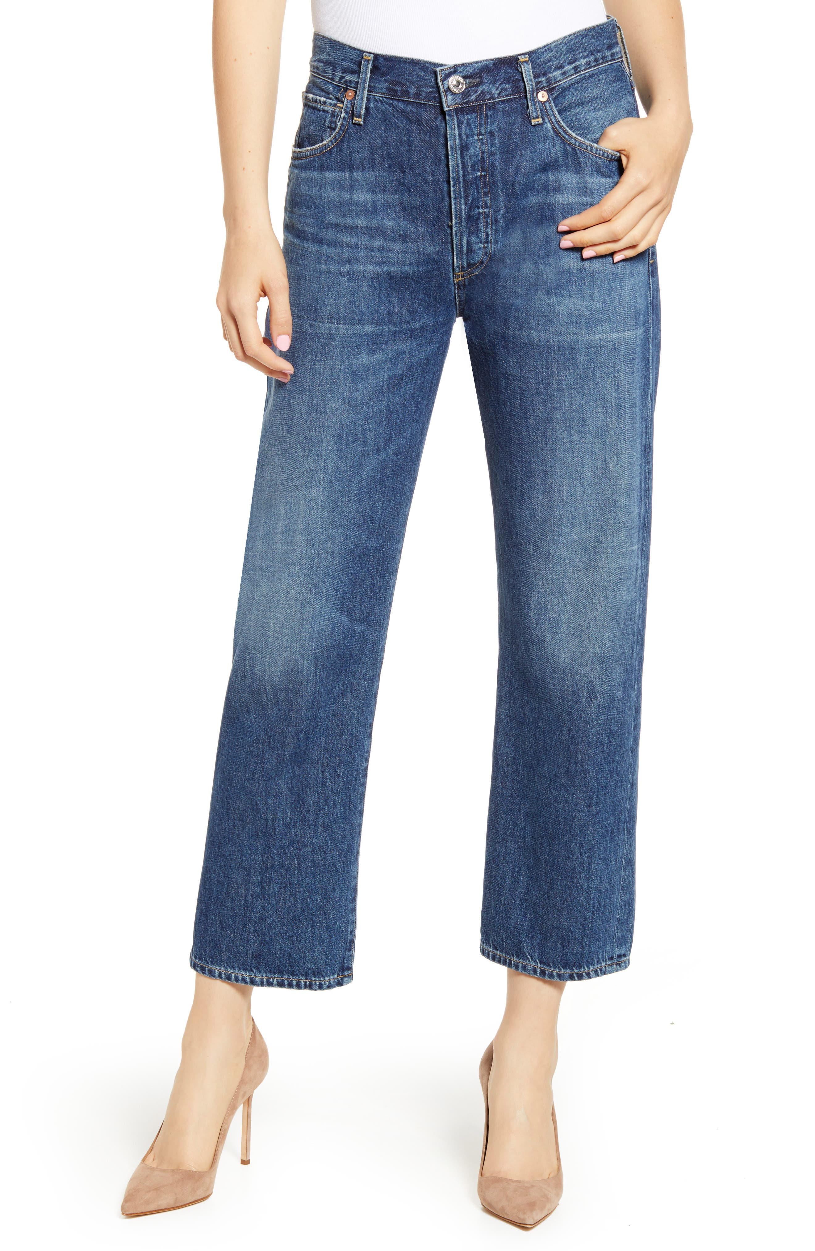 Women's Citizens Of Humanity Emery High Waist Relaxed Crop Jeans,  27 - Blue