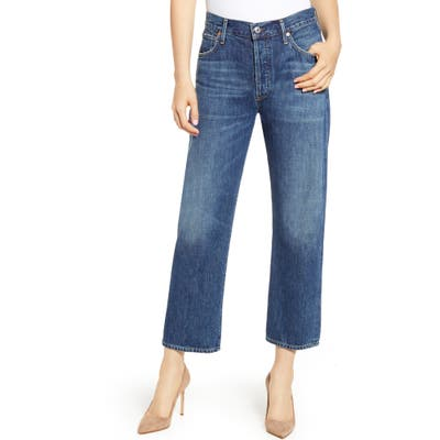 Citizens Of Humanity Emery High Waist Relaxed Crop Jeans, 3 - Blue
