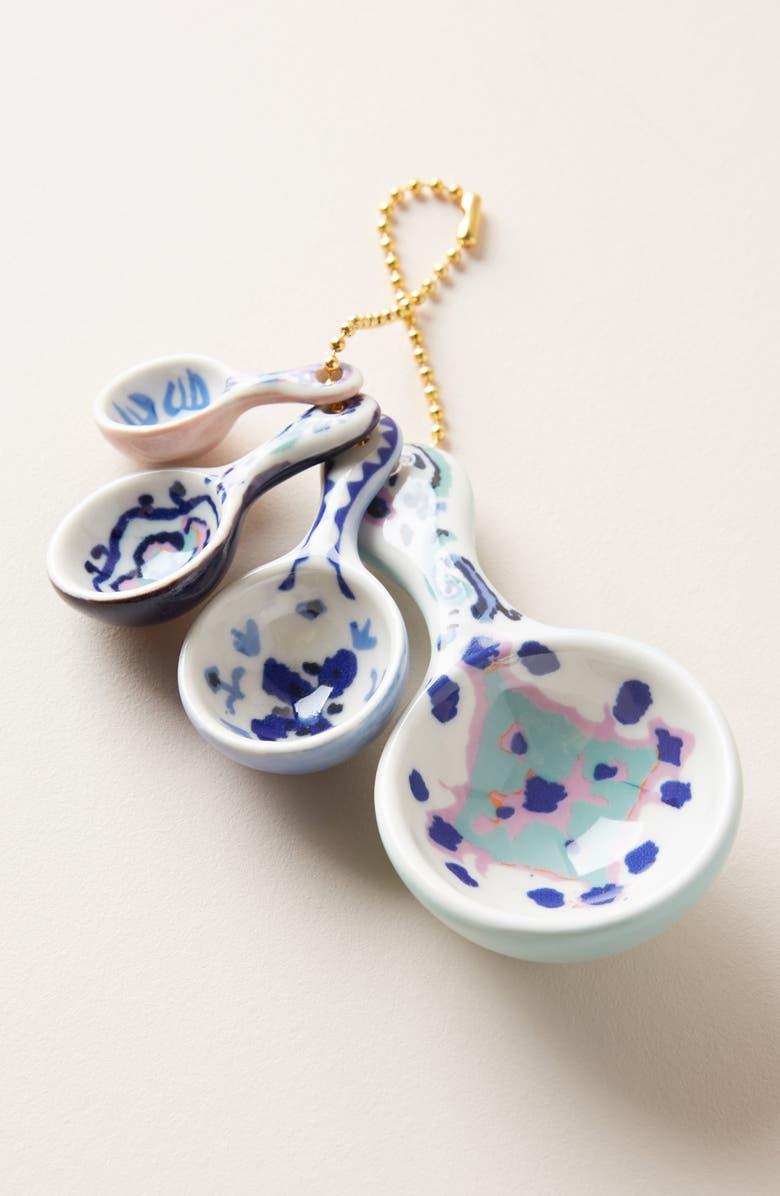 ANTHROPOLOGIE Lilia Set of 4 Measuring Spoons, Main, color, BLUE