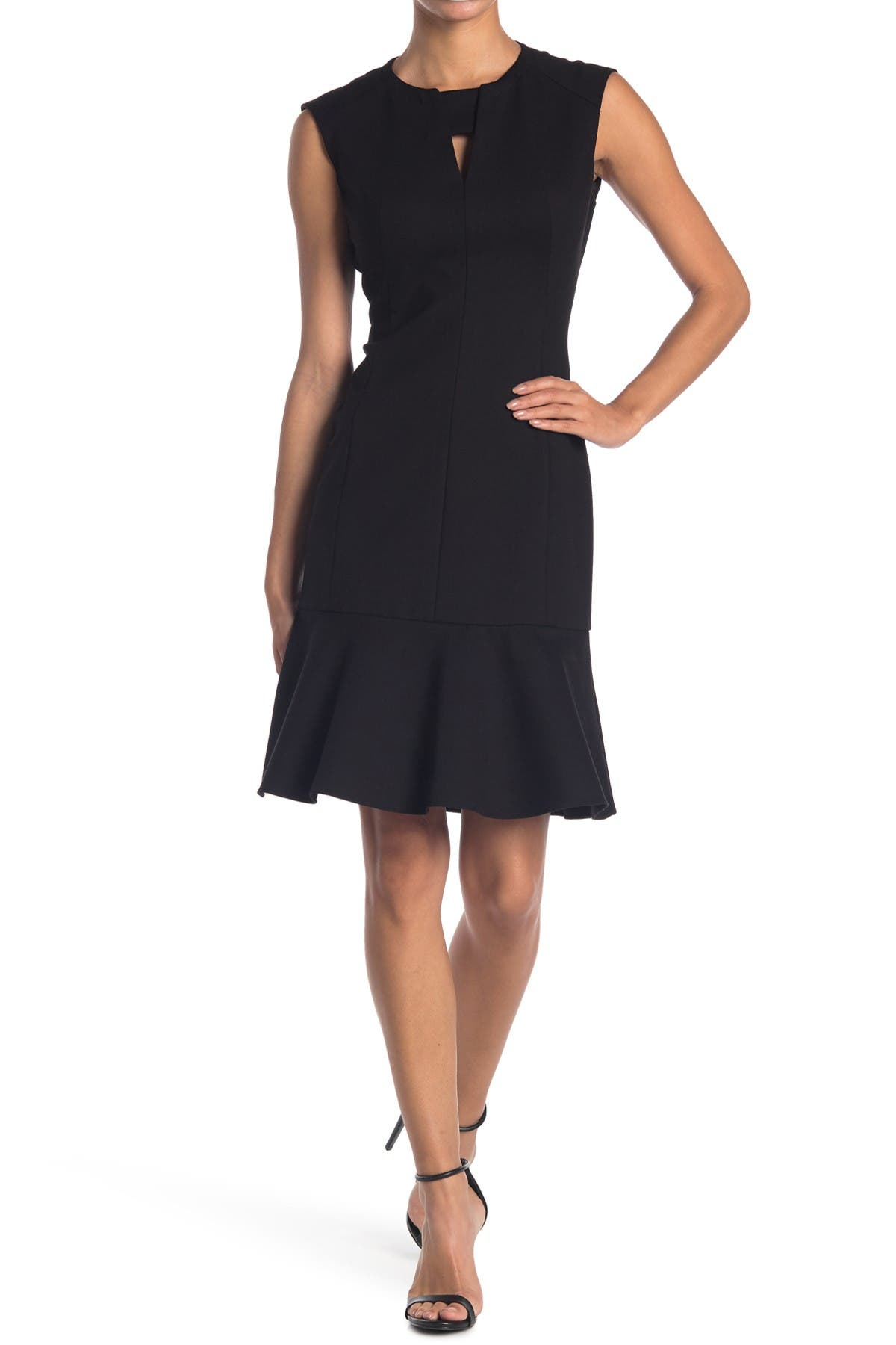 Image of Elie Tahari Lyla Peplum Hem Cutout Dress