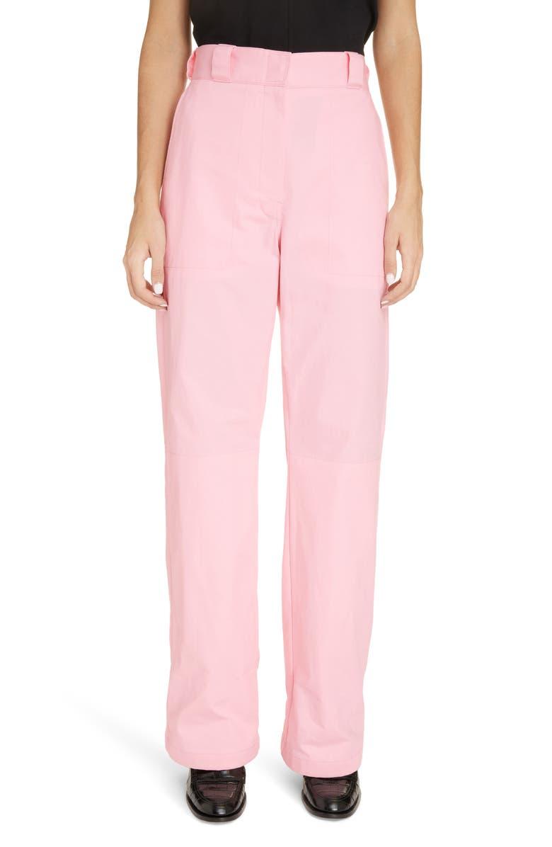 LOEWE Turn-Up Denim Trousers, Main, color, PALE PINK