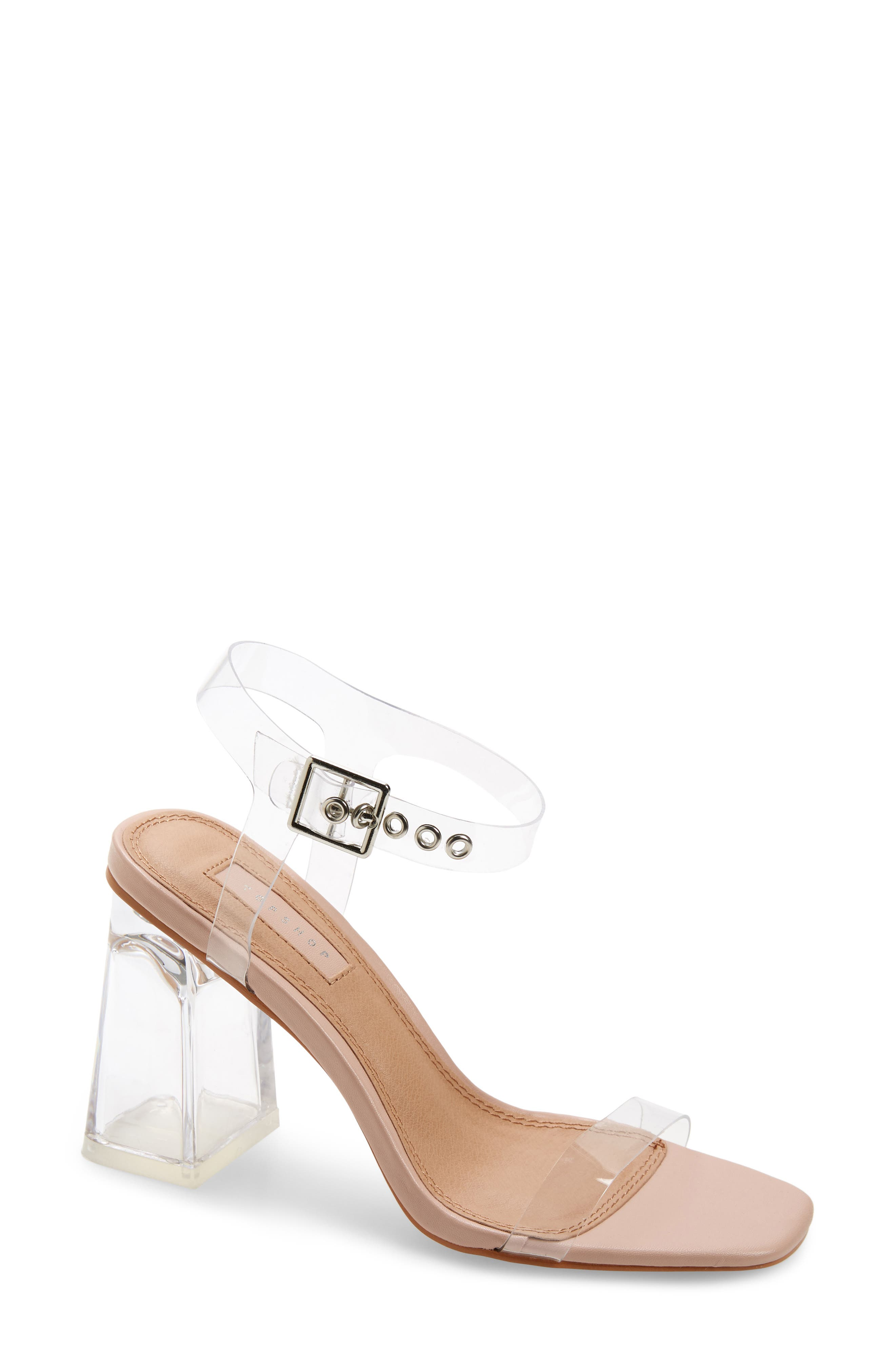 Make a clear statement in this pump that gives you a bare look with translucent construction and a cool floating ankle strap. Style Name: Topshop Sonia Clear Block Heel Sandal (Women). Style Number: 6052817. Available in stores.