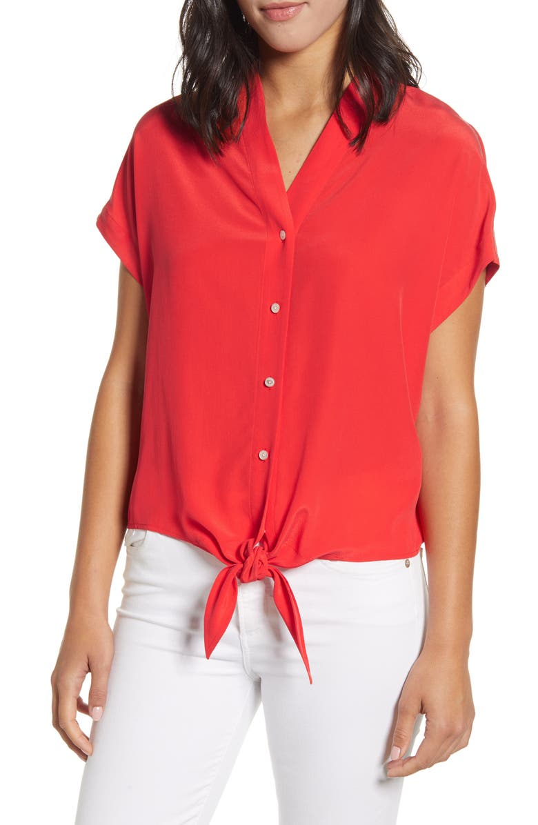 TOMMY BAHAMA Tove Tie Front Silk Shirt, Main, color, POPPY RED