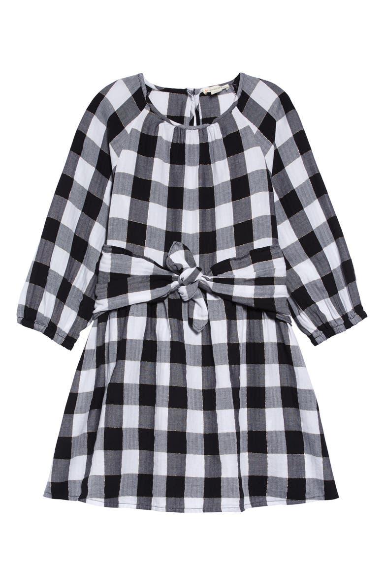 CREWCUTS BY J.CREW Buffalo Check Flannel Tie Waist Dress, Main, color, BLACK WHITE