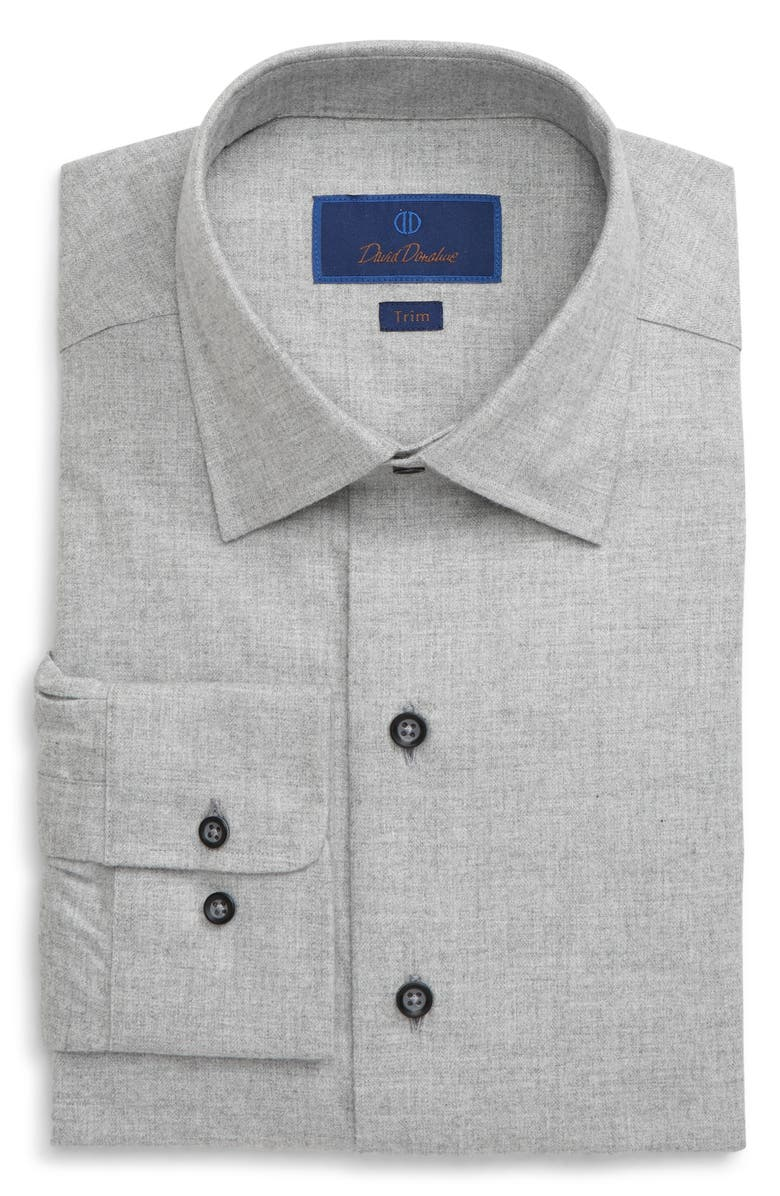 DAVID DONAHUE Trim Fit Peached Dress Shirt, Main, color, GRAY