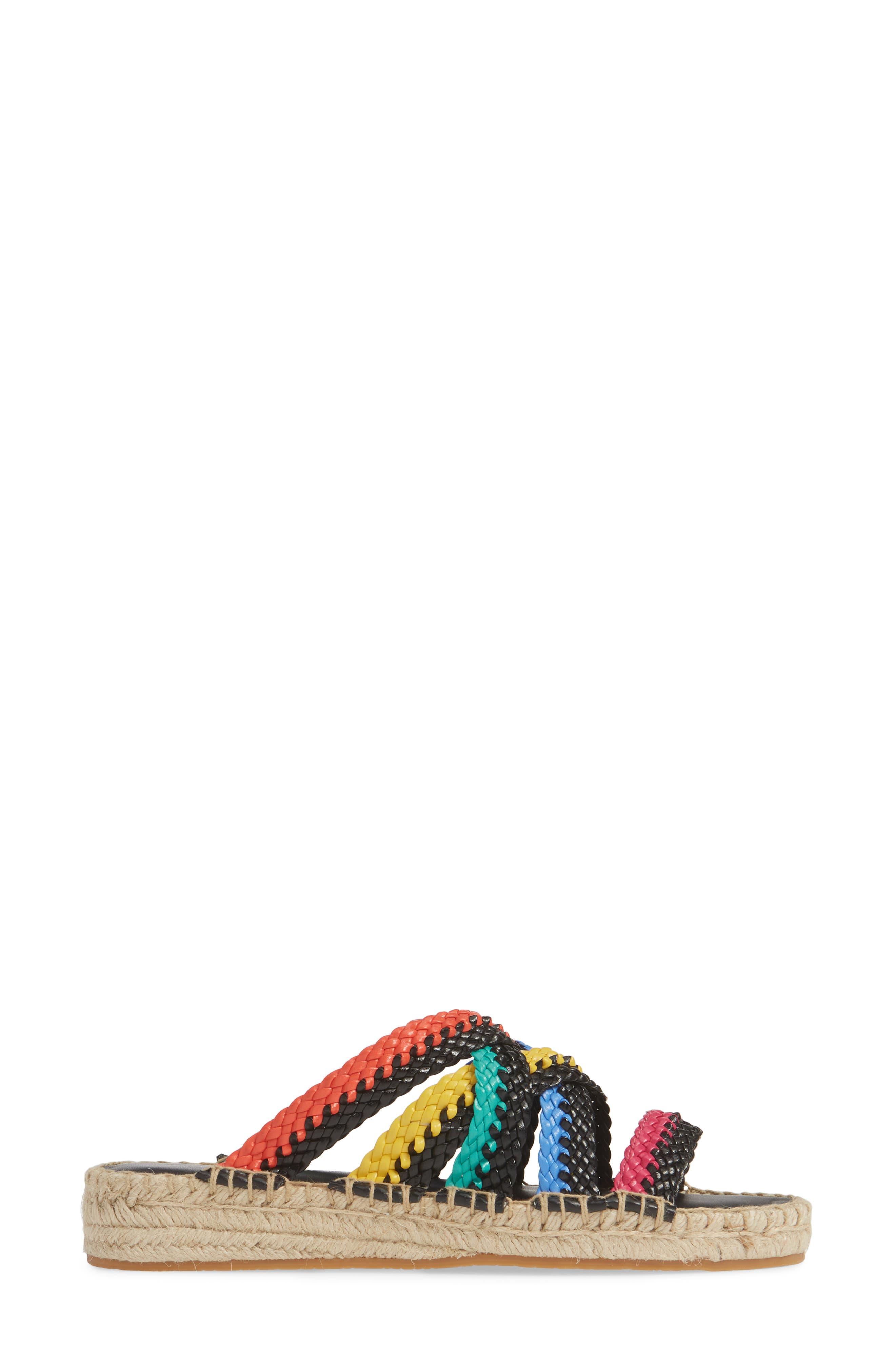 ,                             Rhonda Woven Espadrille Slide Sandal,                             Alternate thumbnail 3, color,                             BLACK MULTI LEATHER