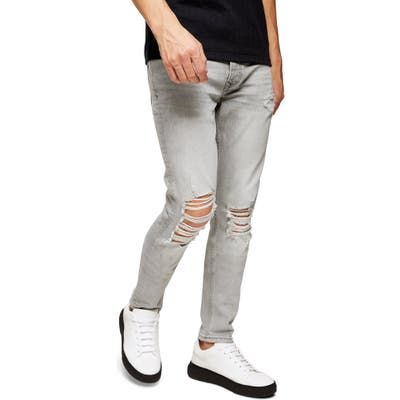 Topman Distressed Ripped Skinny Fit Jeans, Grey