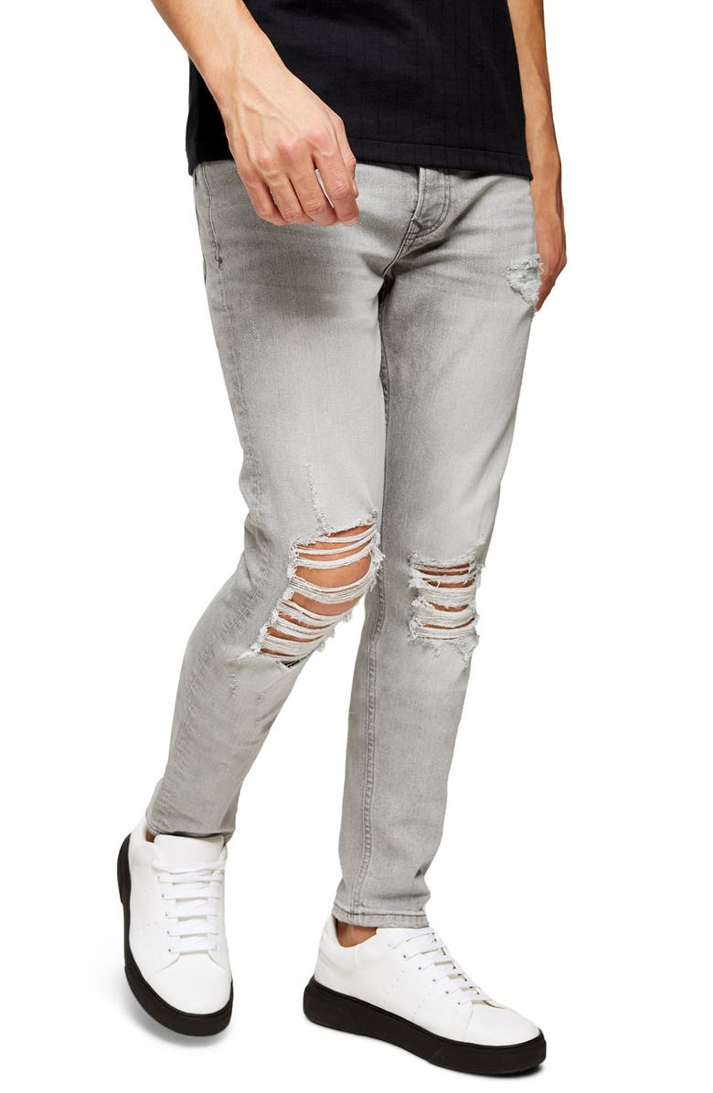 TOPMAN Distressed Ripped Skinny Fit Jeans, Main, color, GREY