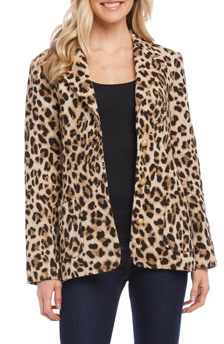 KAREN KANE Leopard Jacquard Blazer, Main, color, LEOPARD