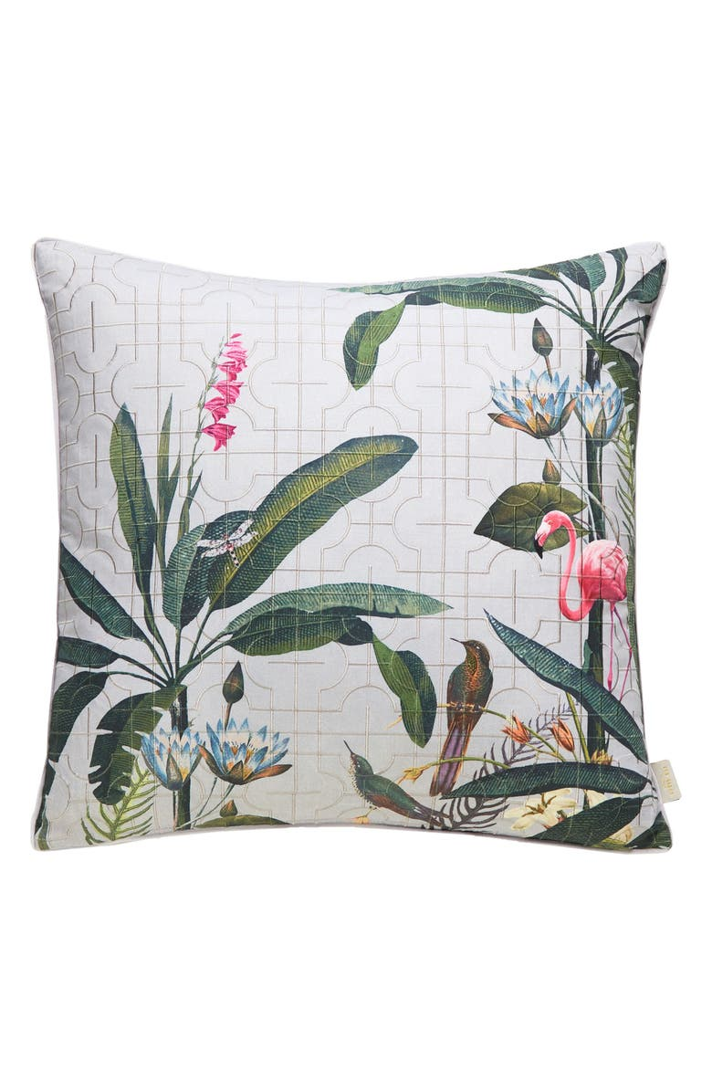 TED BAKER LONDON Flamingo Print Embroidered Accent Pillow, Main, color, 020