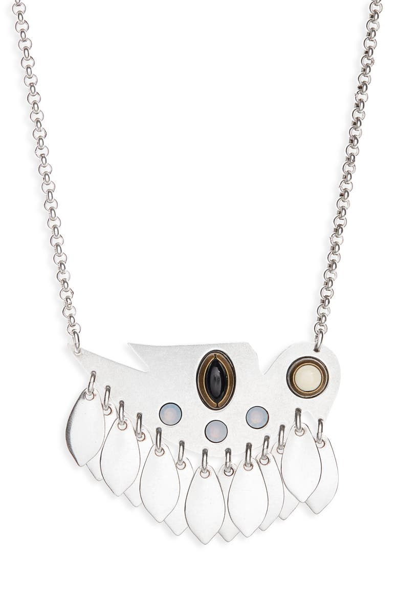 ISABEL MARANT Collier Pendant Necklace, Main, color, BLUE/ SILVER