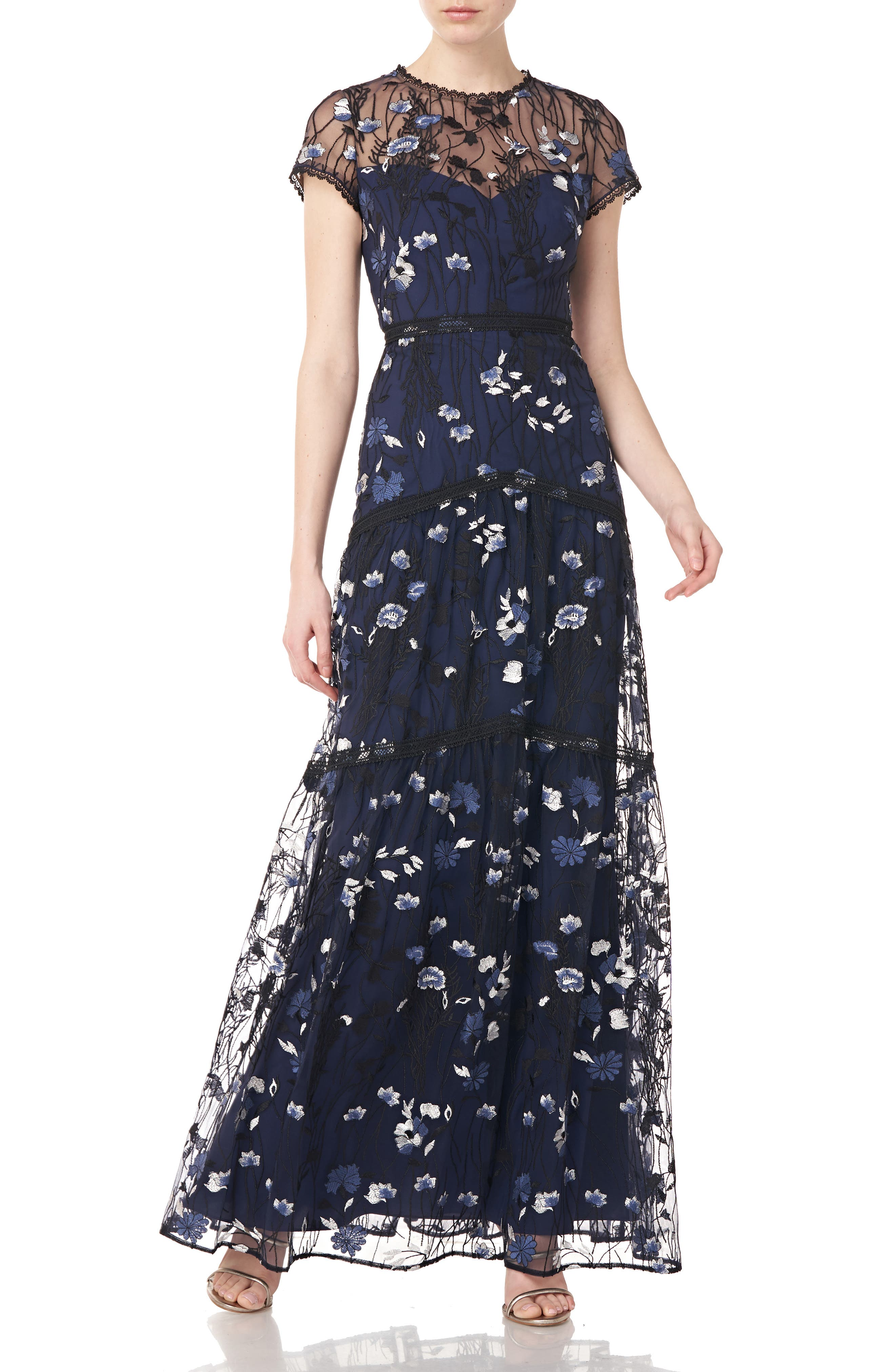 Floral Embroidered A-Line Gown