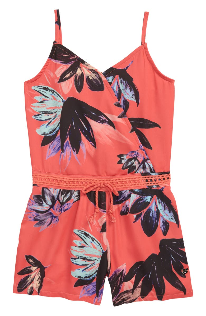BEBE Print Romper, Main, color, CORAL