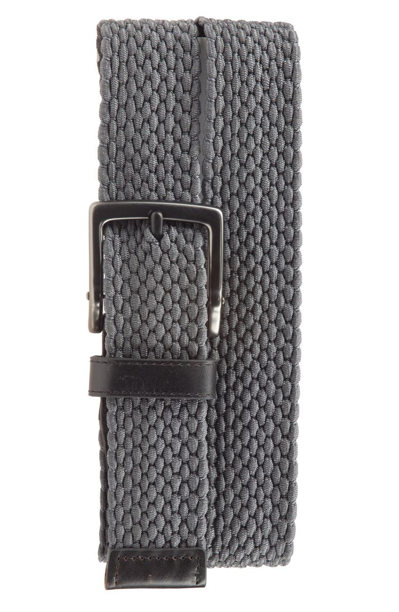 NIKE Stretch Woven Belt, Main, color, DARK GREY