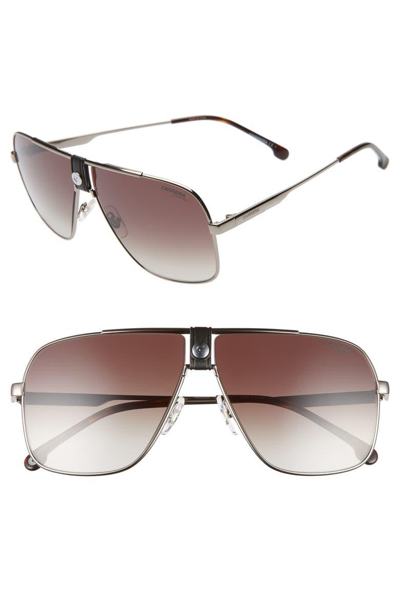CARRERA EYEWEAR 63mm Navigator Sunglasses, Main, color, RUTHENIUM