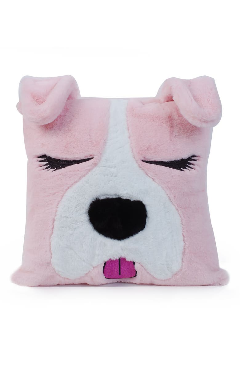 OMG Dog Critter Fluffy Faux Fur Pillow, Main, color, PINK