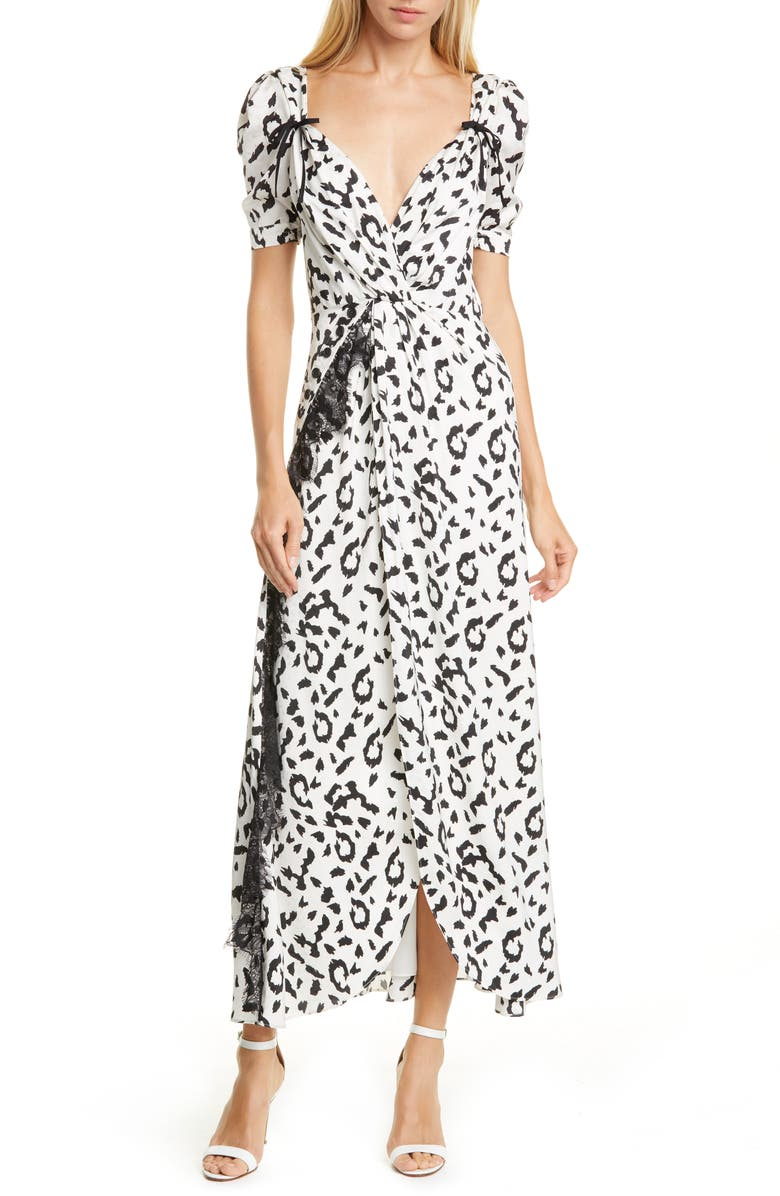 SELF-PORTRAIT Leopard Print Twist Front Dress, Main, color, 900