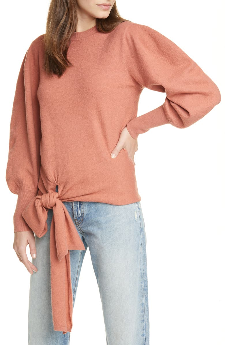 ULLA JOHNSON Tatiana Merino Wool Sweater, Main, color, CLAY